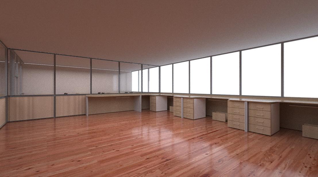 3d модель и визуализация конференц зала и большого стола