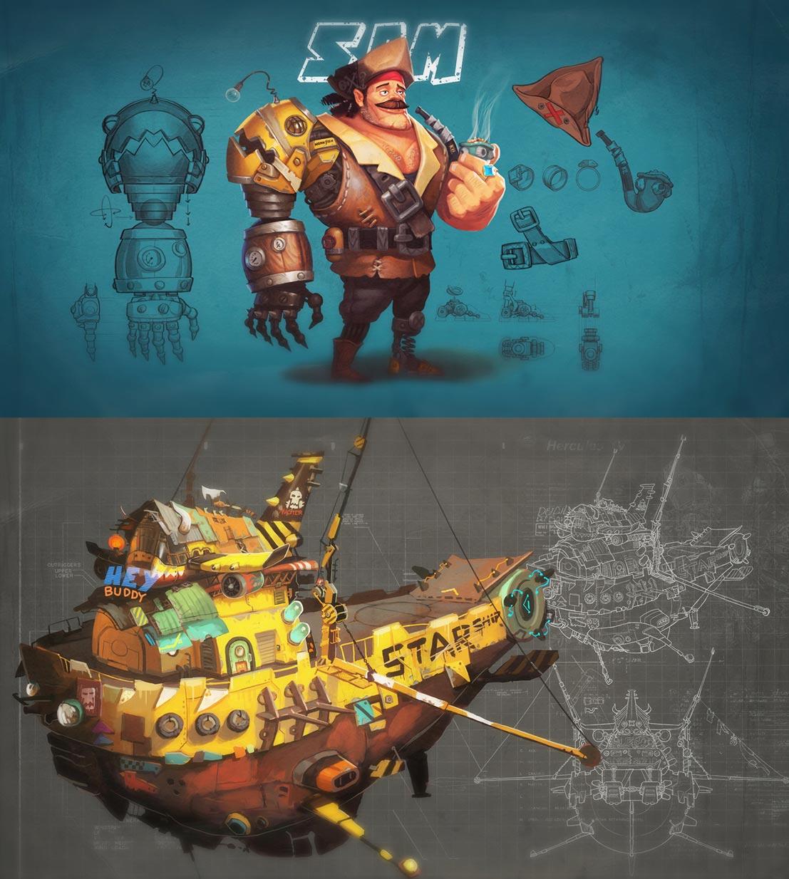 Utvikling karakter og skip spill