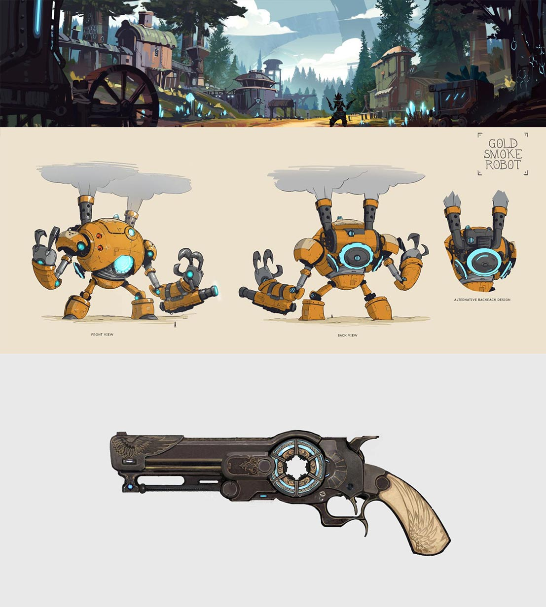 Design bakgrunner og våpen for spillet