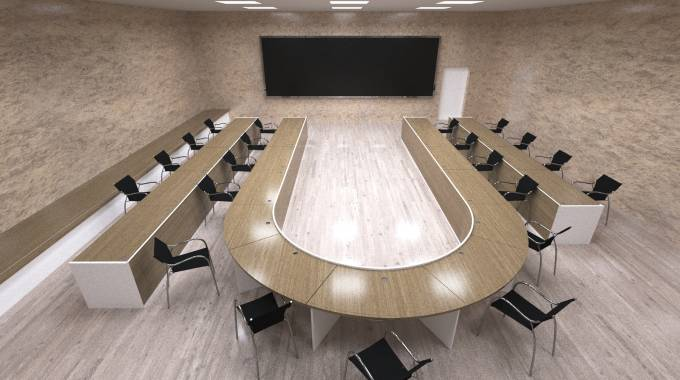 3d model and visualization of conference rooms and a large table, 3d model, meeting room, chairs, parquet, walls, interior, wood.