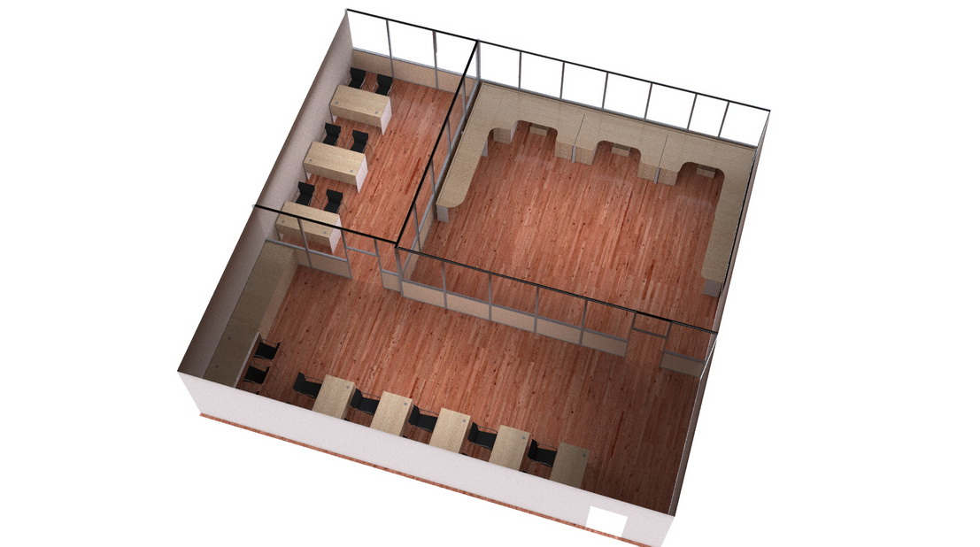 3d model and visualization of conference rooms and a large table