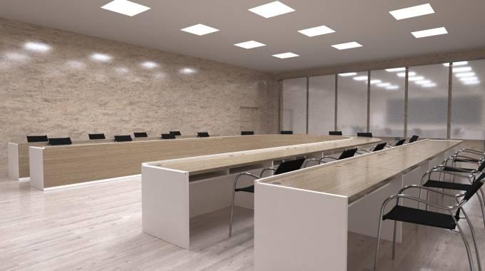 3d модель и визуализация конференц зала и большого стола, 3д-модель, комната для переговоров, стулья, паркет, стены, интерьер, дерево.