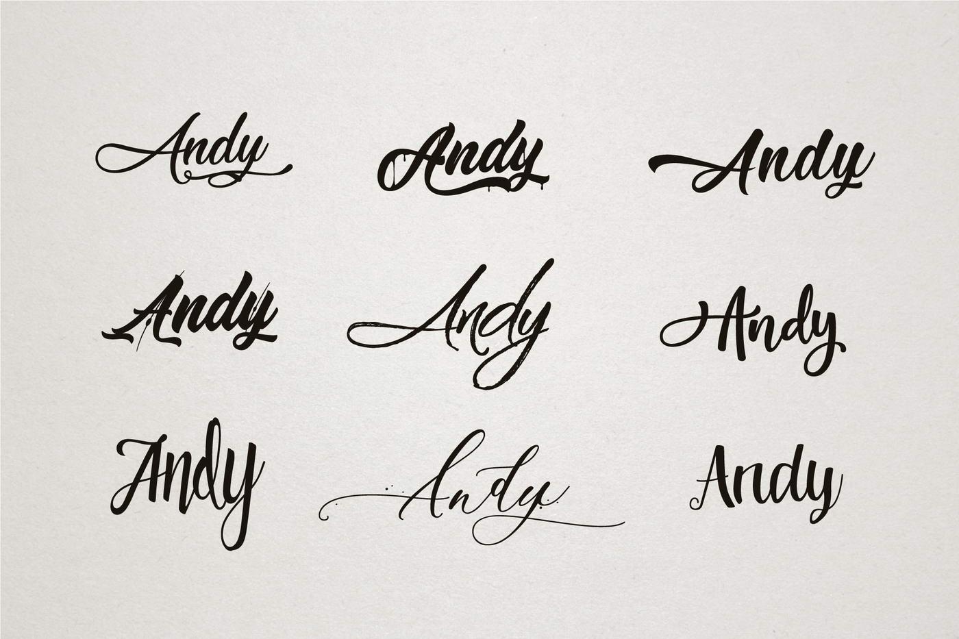 Betűtípus kiválasztás az Andy zenei csoport számára