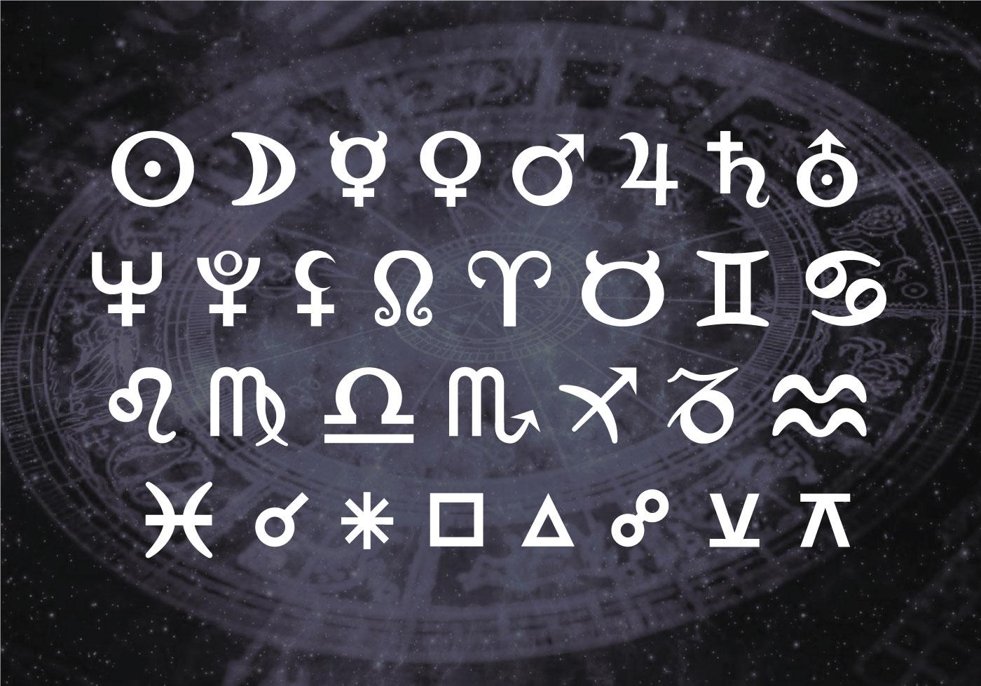 šrifto plėtros astrologinių simbolių