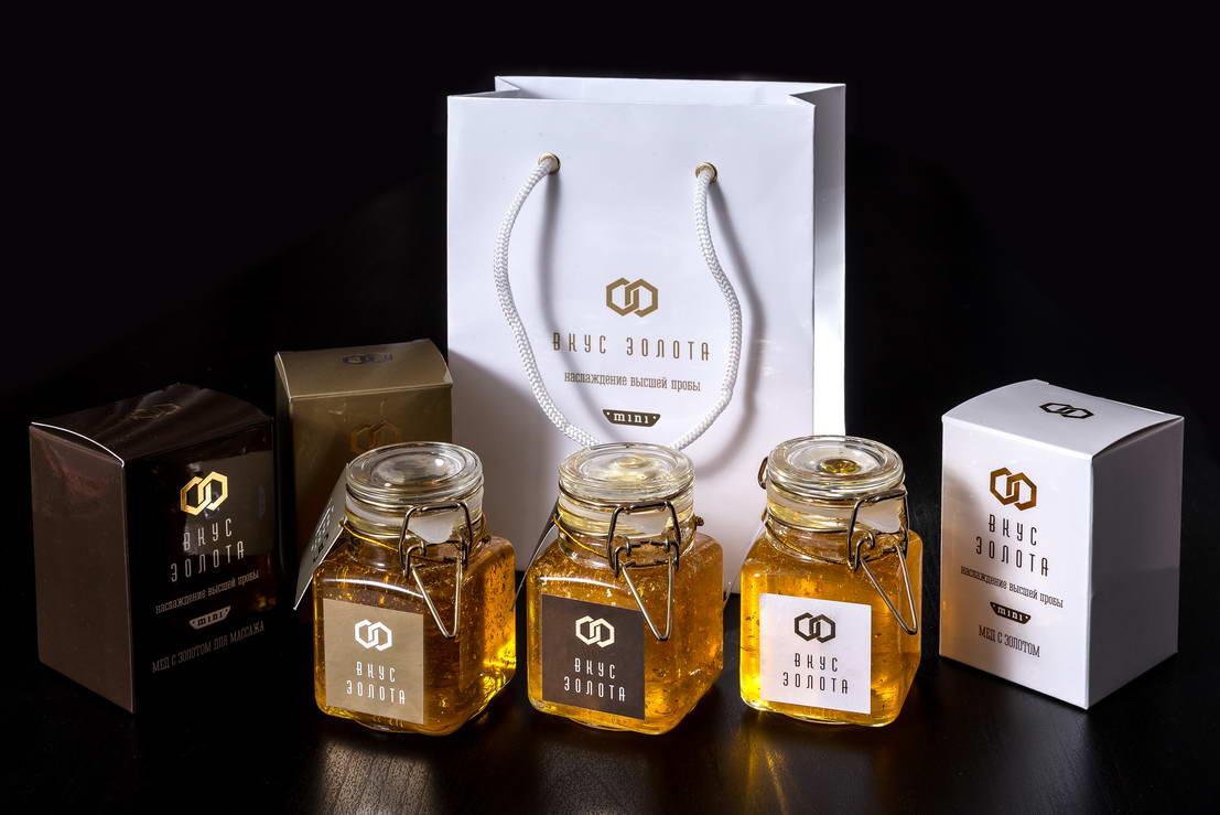 خط تصميم التعبئة والتغليف العسل طعم الذهب مصغرة