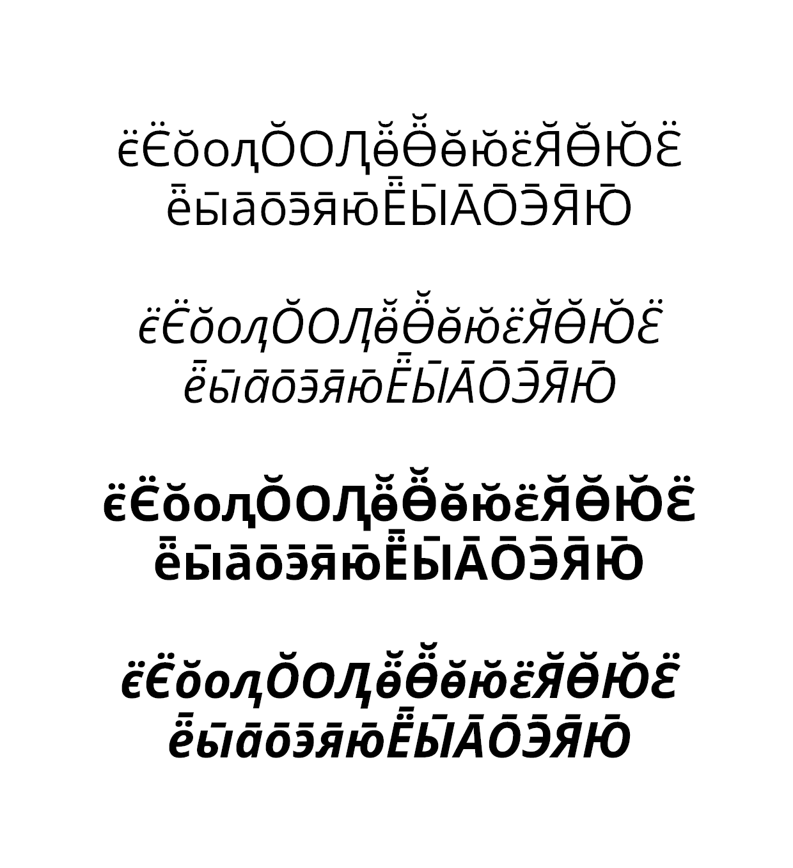 Yazı tipi için Khanty-Mansi karakterlerinin geliştirilmesi