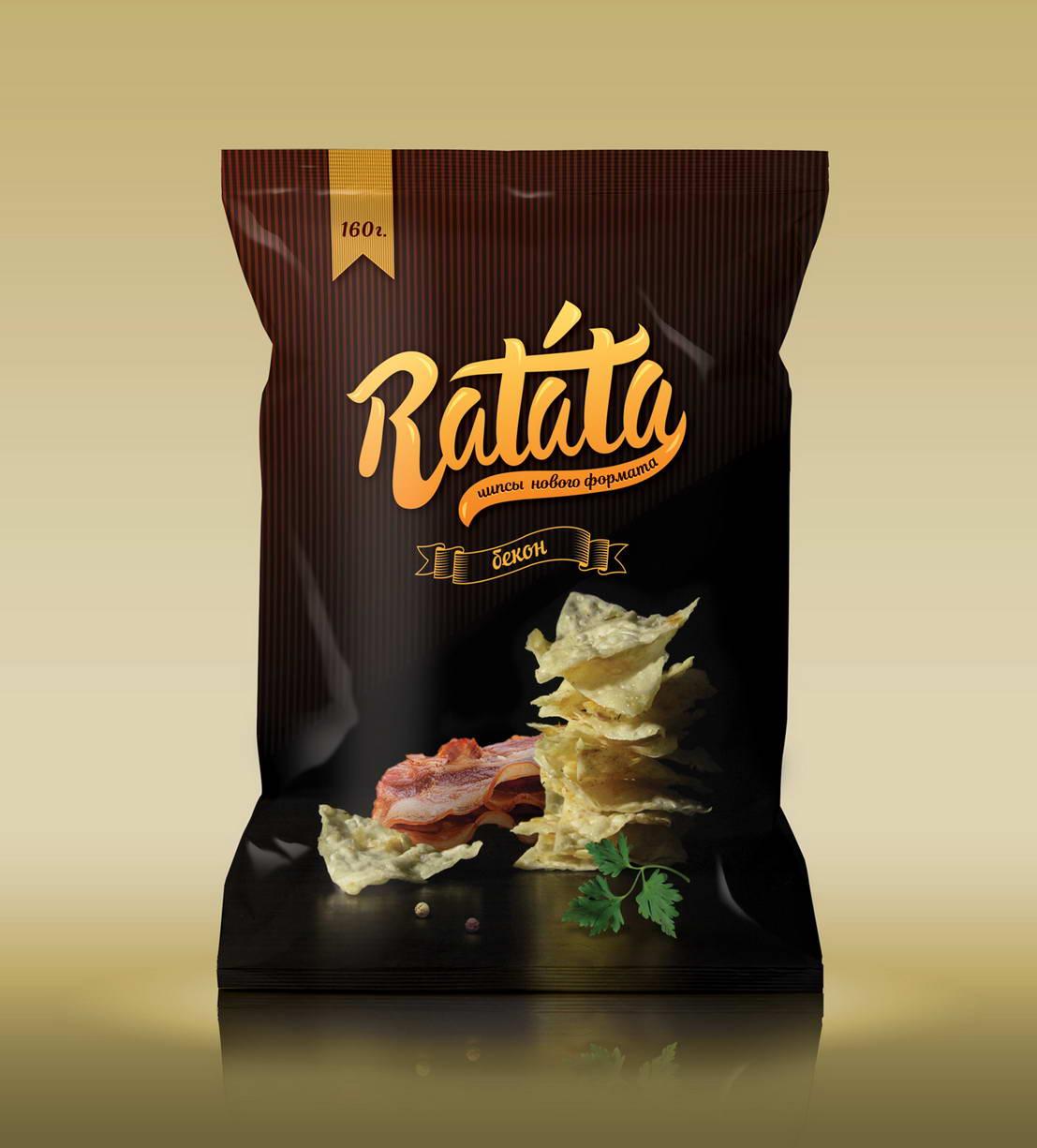 Дизайн упаковки чипсов Ratata с беконом