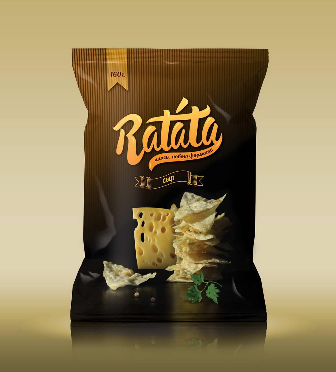 Дизайн упаковки чипсов Ratata с сыром