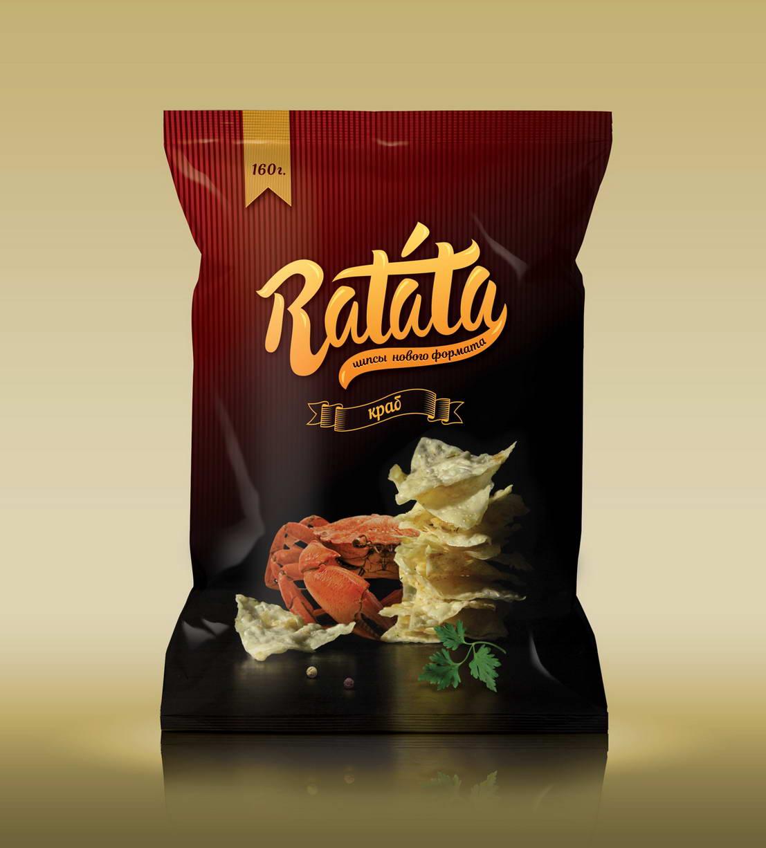 Дизайн упаковки чипсов Ratata с крабом