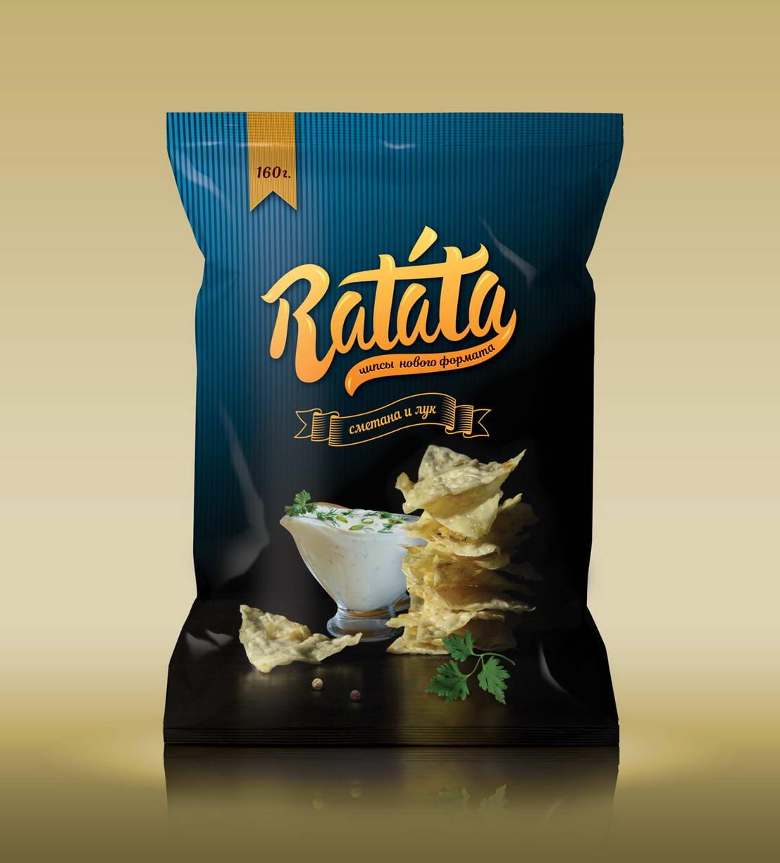 Дизайн упаковки чипсов Ratata сметана и лук
