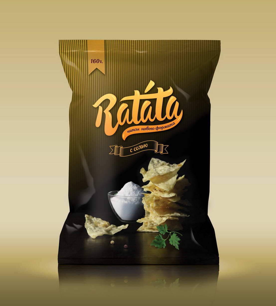Дизайн упаковки чипсов Ratata с солью