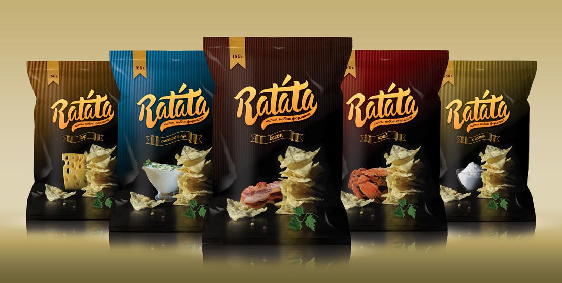 Дизайн линейки упаковок чипсов Ratata