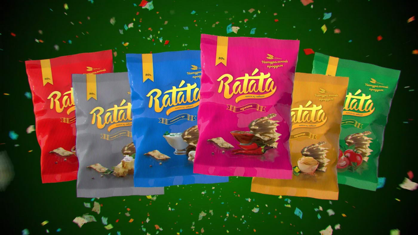 3d модель упаковки, визуализация чипсов Ratata