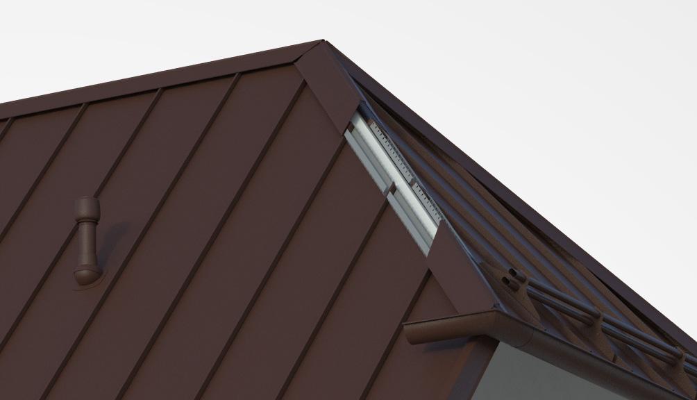 3D модель, дом, кровля, черепица, фальцевая, текстурирование, визуализация, дизайн деталей, разворот для буклета