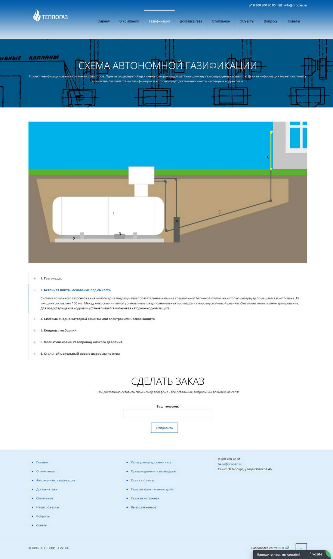 design, layout and programming gas company Teplogaz