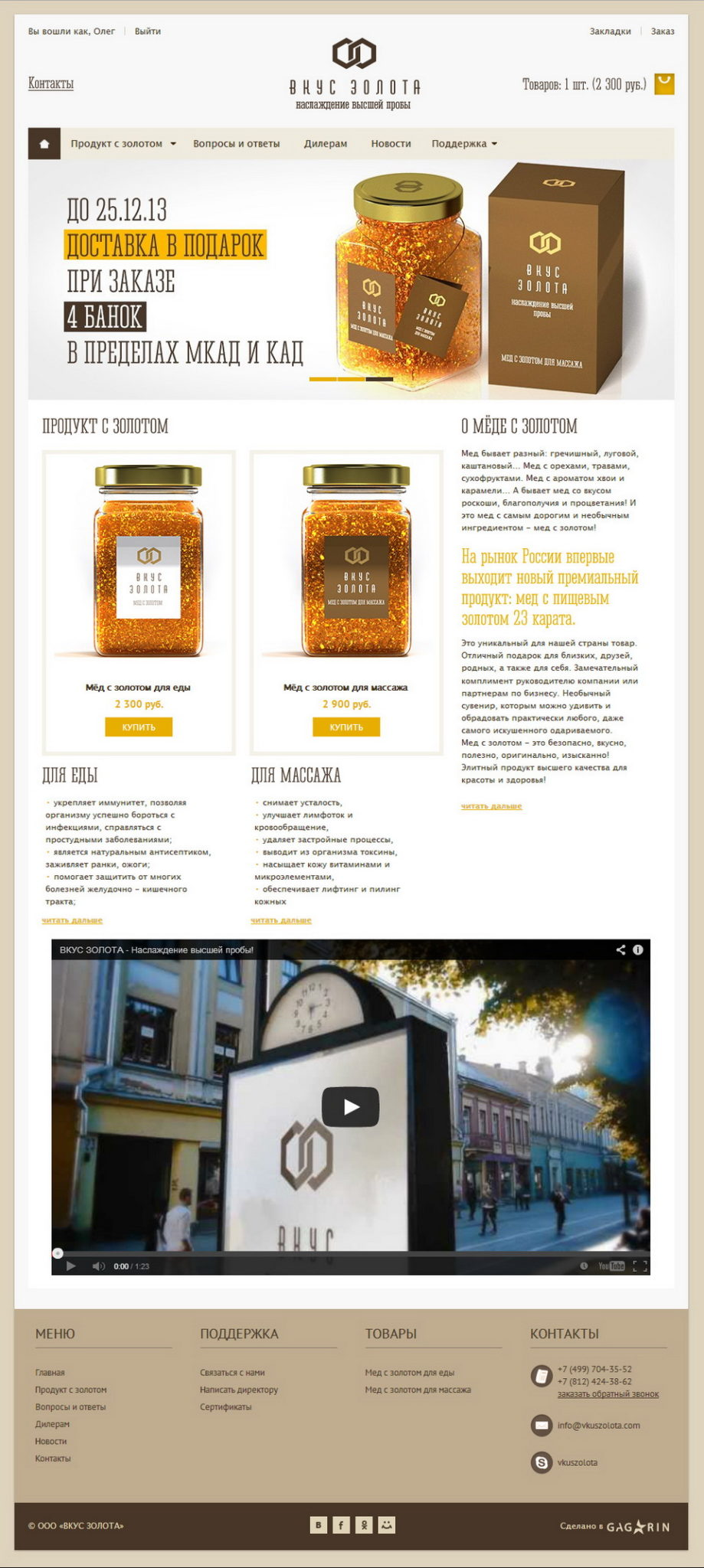 Internet Shop Taste of Gold, adaptieve ontwerp van de site