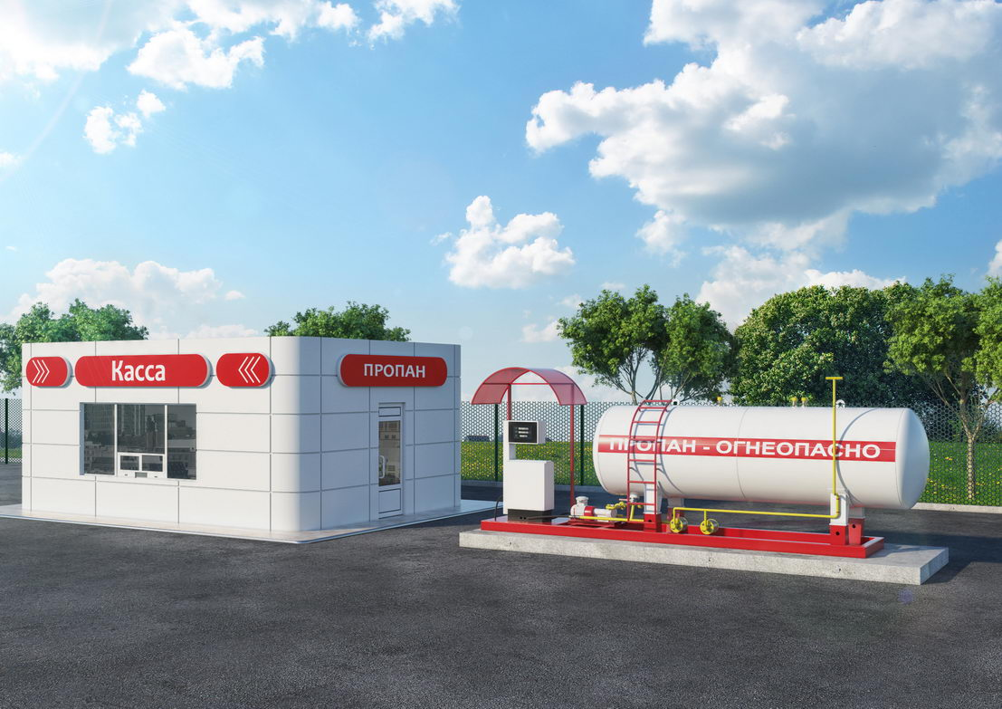 3d модель газовой заправки ЛУКОИЛ