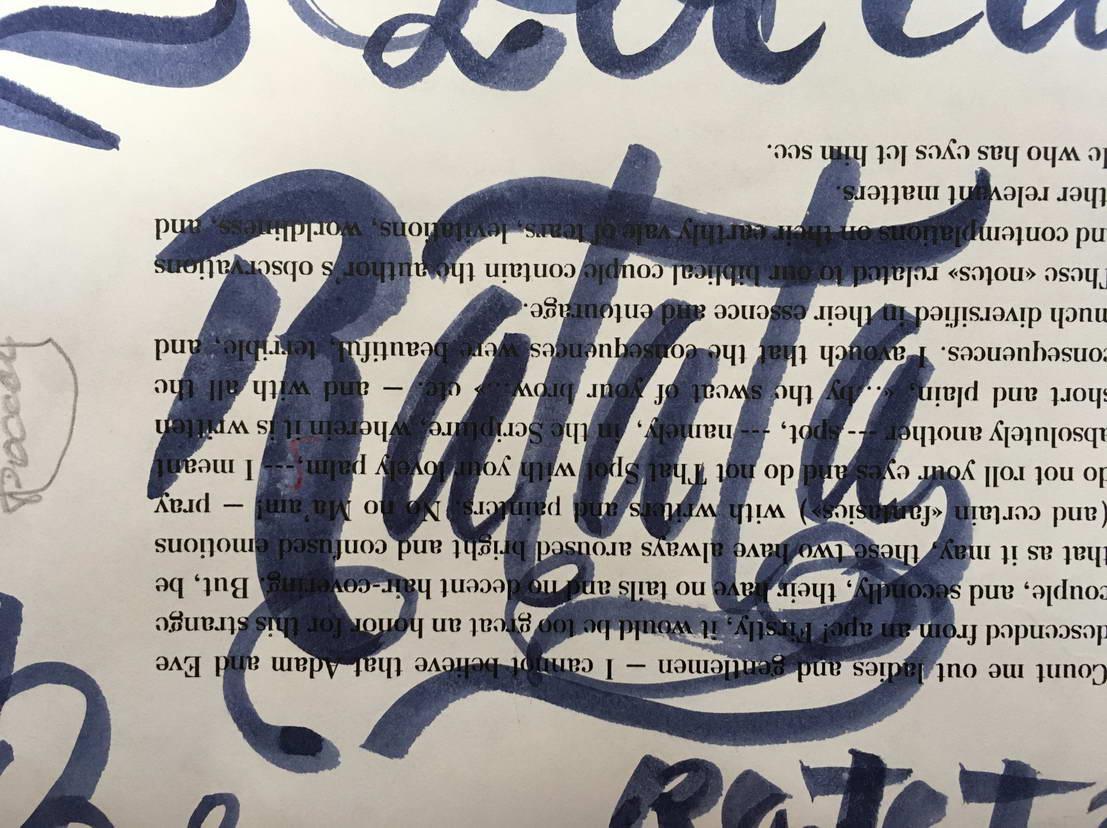 Letering, calligraphie, écrit la police à la main Ratata