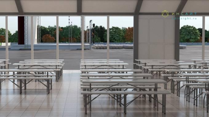 3d модель столовой, столы и стулья