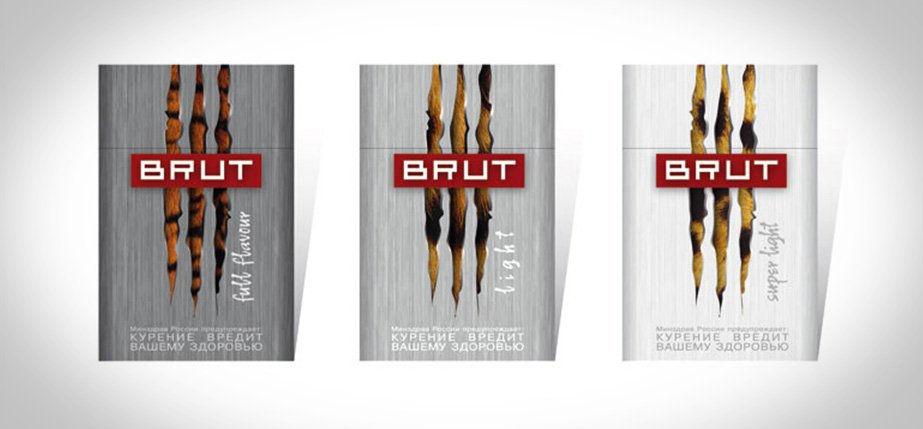 Cigaret emballagedesign Brut