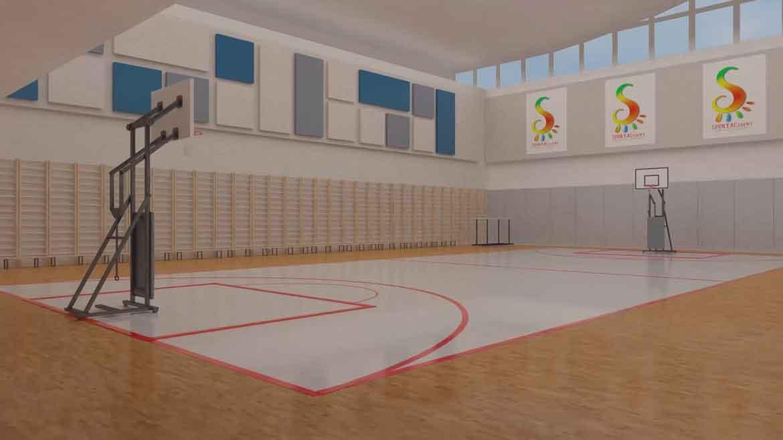 3d mô hình của một sân bóng rổ