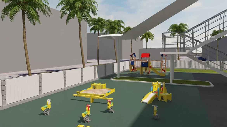 3d mô hình của một sân chơi
