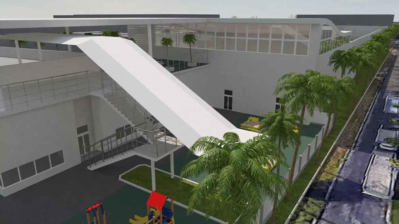 3d модель лестницы и навеса второй этаж