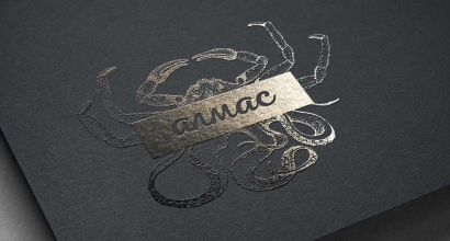 logo, sign, Medical, corporate identity and business card for seafood delicacies Almas